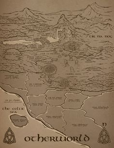 Map of Otherworld for Saving Tir na nOg, Book One in The Chosen Ones by Kimberly S. Map by Brian Garabrant Irish Mythology, Emerald Lake, The Chosen One, Vintage World Maps, This Book, Paintings, Ink, Books, Cards
