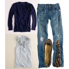 Jeans (minus the rips)+ leopard flats + ruffled tank + cardigan.