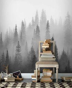 Dimmig skog svartvit tapet | Fototapet | Svartvit skog | Gran