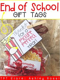Perfect gift tag for the end of year teacher appreciation thank you gift! love the popcorn movie tickets theme Volunteer Appreciation Gifts, Volunteer Gifts, Teacher Appreciation Week, Employee Appreciation, Thank You Teacher Gifts, Teacher Christmas Gifts, Teacher Aide Gifts, School Gifts, Student Gifts