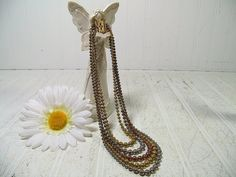 Vintage Tricolor Ball Chain 5 Strand Necklace with Ornate GoldTone Clasp - Antique Chain-Mail Style Multistrand Heavy 3 Color Metal Necklace $29.00 by DivineOrders