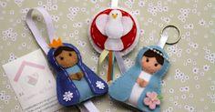 Essas foram amostras que a cliente Luciana comprou antes de fazer o pedido das lembrancinhas de batizado do filhinho dela, foram a Nossa Se... Jesus Crafts, Faith Crafts, Catholic Crafts, Felt Christmas Decorations, Christmas Crafts, Christmas Ornaments, Fun Crafts, Diy And Crafts, Arts And Crafts