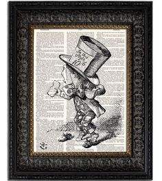 ALICE IN WONDERLAND MAD HATTER 1 Dictionary Art Print is printed onto a genuine vintage dictionary page with some variation in color & style dependent on current book stock. Page size approximately 8.