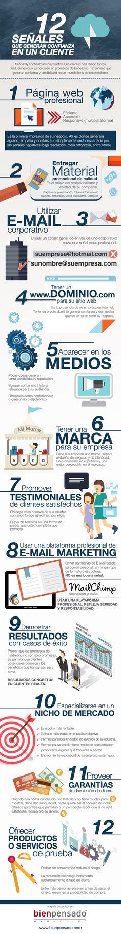 12 señales que generan confianza en un cliente #infografia #infographic #marketing