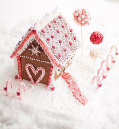 Candy cane heart on a gingerbread house
