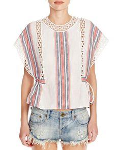 Tularosa Crochet Trim Stripe Top