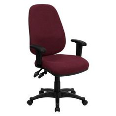Flash Furniture High Back Ergonomic Computer Chair with Height Adjustable Arms Burgundy - BT-661-BY-GG