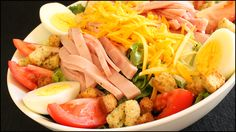 Learn how to make this classic chef's salad! Leaf lettuce topped with ham, turkey, cheese, tomatoes, hard boiled eggs and croutons. The perfect salad either as a meal by itself or as a fancy side salad to accompany any dinner. See how to make it here: http://youtu.be/i5PEpLwphE0