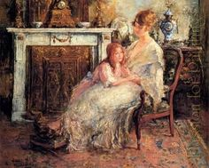 Mother and Daughter Oil Paintings Victorian | Keywords - daughter , fireplace , Mother and daughter , Suggest ...