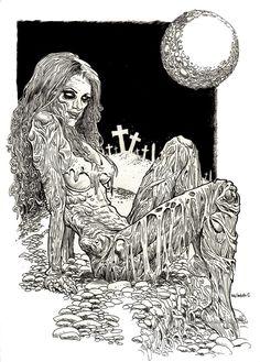 Beautiful Moon Zombie Pin Up Girl - Zombie Artist Rob Sacchetto Rob Zombie Art, Arte Zombie, Zombie Pin Up, Zombie Girl, Zombie Drawings, Art Drawings, Arte Horror, Horror Art, Apocalypse