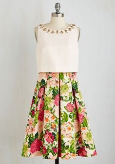 Bestie of the Bride Dress - Daytime Party, Woven, Multi, Pink, Floral, Print, Pleats, Rhinestones, Fit & Flare, Sleeveless, Spring, Best