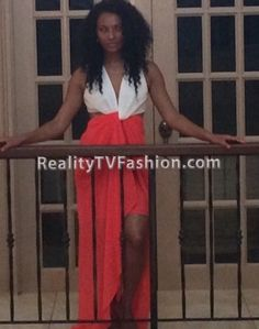 Tara Wallace's Barbados Vacation Orange & White Twist-Front Maxi Dress