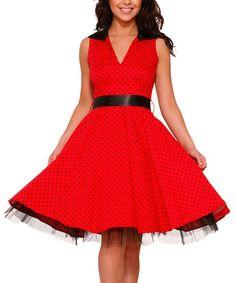 Look at this #zulilyfind! Red & Black Polka Dot A-Line Dress #zulilyfinds $31.99