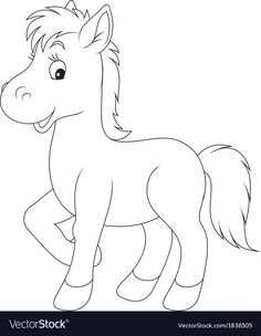 Foal vector image on VectorStock Farm Animal Coloring Pages, Dog Coloring Page, Easy Coloring Pages, Cartoon Coloring Pages, Coloring Books, Art Drawings For Kids, Cartoon Drawings, Animal Drawings, Easy Drawings
