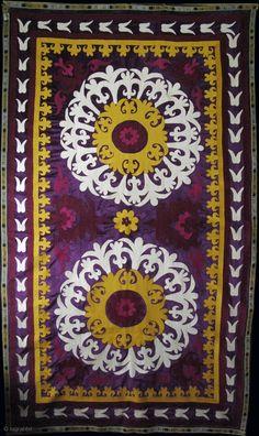 Tajikistan Leninabat suzani. Silk embroidery on velvet.