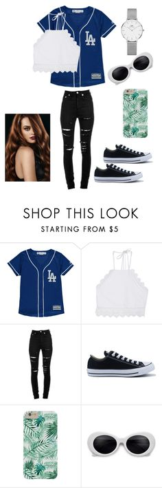 """""""Baseball"""" by diorgalore on Polyvore featuring Front Row Shop, Yves Saint Laurent, Converse and Daniel Wellington"""
