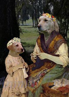 KNITTING DOG digital art anthropomorphic puppy by AnimalFolk