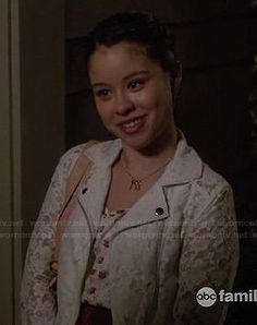 Mariana's white lace moto jacket on The Fosters.  Outfit Details: https://wornontv.net/16835/ #TheFosters