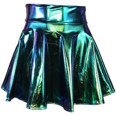 Holographic High Waisted Skater Skirt Oil Slick Metallic Clubwear,... (605 MXN) ❤ liked on Polyvore featuring skirts, bottoms, metallic mini skirt, high waisted circle skirt, mini skirts, high-waisted flared skirts and metallic skirt