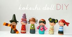 kokeshi dolls (polymer clay, but could maybe also use wood?)