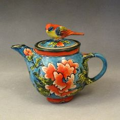 blue teapot ~ Deb Kuzyk & Ray Mackie, Lucky Rabbit Pottery