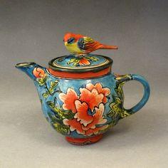 blue teapot ~ Deb Kuzyk & Ray Mackie, Lucky Rabbit Pottery