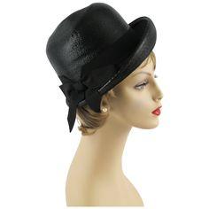 Vintage 1960s Hat Black Straw Asymmetrical Cloche by Lisa Sz 21.5