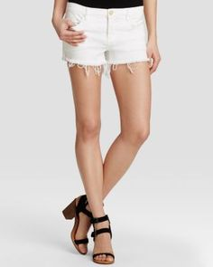 BLANKNYC Cutoff Shorts in White Lines | Bloomingdale's
