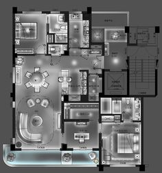 Zhou jie 例 in 2019 architecture plan, house design und apart Plan Design, Layout Design, Layouts Casa, Ceiling Plan, Interior Design Sketches, House Map, Color Plan, Floor Plan Layout, Apartment Plans