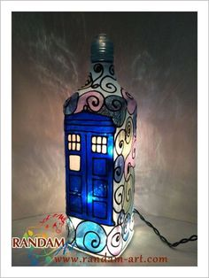 Dr Who inspired Tardis Style Lighted Bottle Upcycled by RandamArt