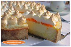 Quark - Mandarinen - Kuchen mit Baiser! Himmlisch lecker! www.rezepte-glutenfrei.de