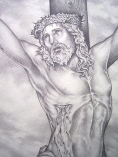 pencil drawing of jesus on the cross