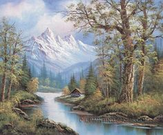 """Impression Canvas Painting For Sale Urban Landscape Painting Mountain, Size: 40"""" x 30"""", $122. Url: http://www.oilpaintingshops.com/impression-canvas-painting-for-sale-urban-landscape-painting-mountain-2140.html"""