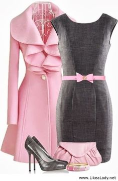 Pink and grey outfit. So pretty and feminine