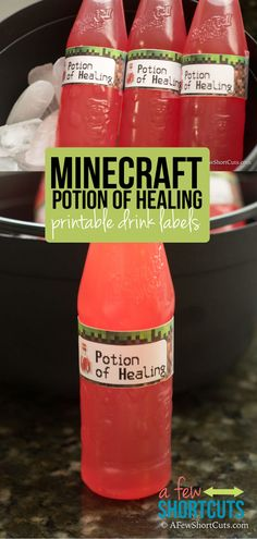Looking for Minecraft party ideas? This one is a winner! Print these FREE Minecraft Potion Of Healing Drink Labels and turn a bottle of juice or water into something magical!
