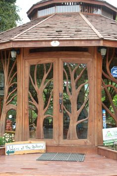 Wooden tree doors--how perfect for a yoga studio