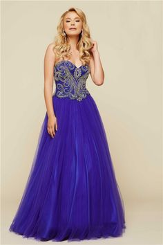 Stunning A Line Strapless Long Purple Tulle Beaded Prom Dress