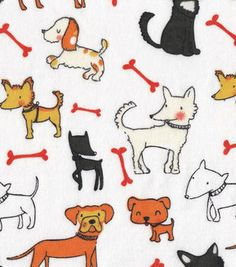 Snuggle Flannel Fabric-Dog Friends