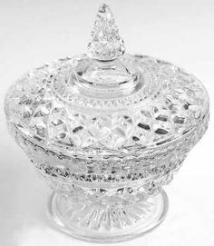 Vintage large clear PRESSED GLASS covered CANDY DISH BOWL Wexford Anchor Hocking