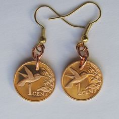 Hummingbird Coin Earrings from Trinidad and Tobago dated 1974 and 1975