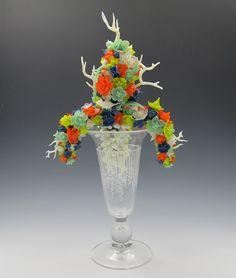 "Kit Paulson, The Roots, lamp worked glass, furnace glass, enamel, 12"" x 6"", 2015 kitpaulsonglass.com Roots, Glass Art, Enamel, Kit, Crystals, Beautiful, Vitreous Enamel, Enamels, Crystal"