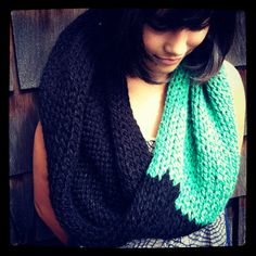 COWL- Black & Green Hand Knit Infinity Scarf, Color Blocked Knit Cowl, Bright and Soft Circle Scarf
