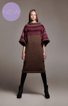 Hand knit wool dress high fashion womens knit warm cosy winter wool dress brown purple ombre striped unique modern long dress OOAK