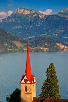 Parish Church steeple overlooking Lake Lucerne, Weggis Switzerland