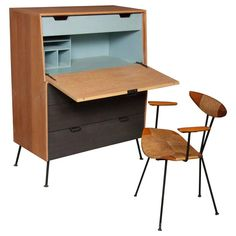 Raymond Loewy Droptop Desk, Cabinet 1950s | From a unique collection of antique and modern desks at https://www.1stdibs.com/furniture/storage-case-pieces/desks/