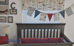 Vintage Airplane nursery. Vintage airplane banner made exclusively for Pine Creek by Back at the Pond Designs.