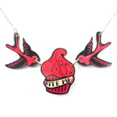 Sparrow Birds and Bite Me Cupcake Shaped Tattoo Inspired Acrylic Pendant Necklace in Pink