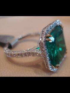 Emerald Ring Emerald Engagement Ring Diamond Halo Emerald Ring May… I Love Jewelry, Jewelry Rings, Jewelry Accessories, Fine Jewelry, Druzy Jewelry, Gemstone Bracelets, Jewelry Art, Gold Jewelry, Colombian Emerald Ring