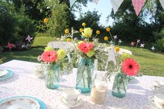 Shabby chic, mason jars, birthday