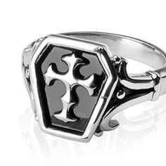 Sanctum - Symbol Of Might and Unending Loyalty Stainless Steel Center Cross Ring. #BuyBlueSteel #Jewelry